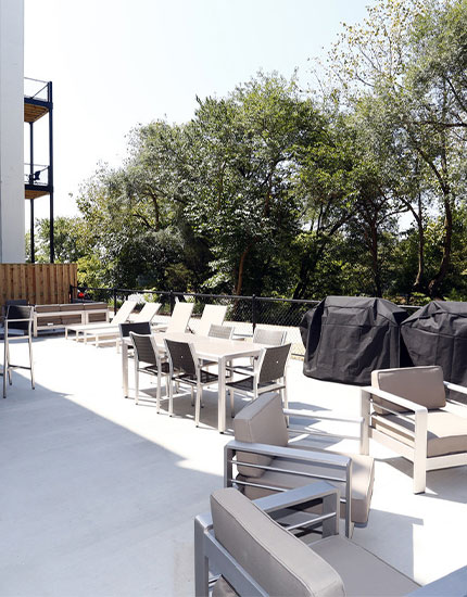Outdoor Areas with Gas Grills and a Fire Pit